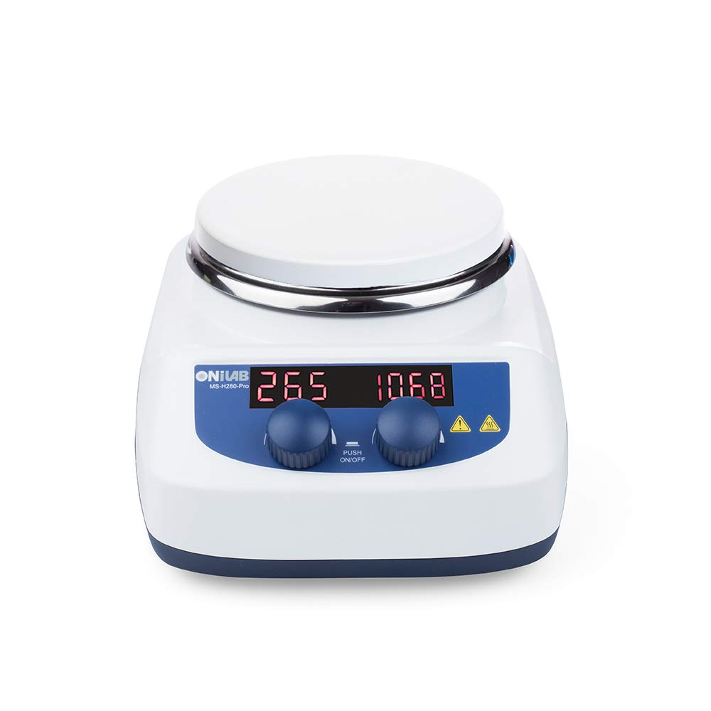 ONiLAB 5 inch LED Digital Hotplate Magnetic Stirrer hot Plate with Ceramic Coated Hotplate ,Stir Plate, Magnetic Mixer 3,000mL Stirring Capacity, 200-1500rpm, 500W, Stirring Bar Included, 280℃