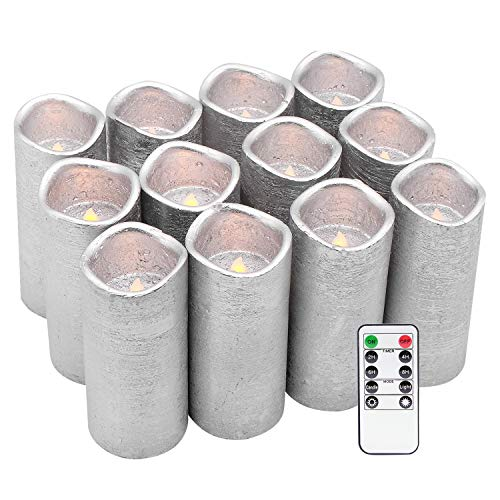 Eldnacele Flameless Candles Flickering Real Wax Battery Operated LED Pillar Silver Coated Candles Set of 12(D2.2 X H5) Pillar Candles Warm White Light with Remote Control and Timer for ()