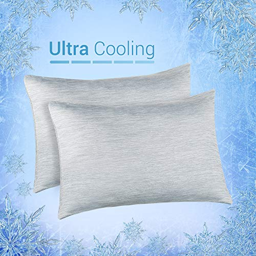 Elegear Cooling Pillowcases for Night Sweats and Hot Flashes, Japanese Q-Max 0.4 Cooling Fiber, Breathable Soft Both Sides Pillow Case with Hidden Zipper, Set of 2, Gray (Queen (20'' x 30''))