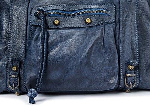 Borsa Vintage Vera Ira Blu Donna Italy Modello Valle Made Del Pelle In Dallas blu 4EqwFq0