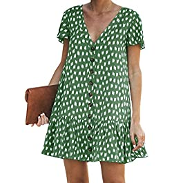 Chuanqi Womens Polka Dot V Neck Button Down Ruffles Casual Loose Swing Short Mini T-Shirt Dress
