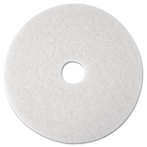 3M Commercial Ofc Sup Div 08476 Super Polish Pad,Removes Scuff/Black Heel,12 in.,5/CT,White (Pad Removes Scuff)