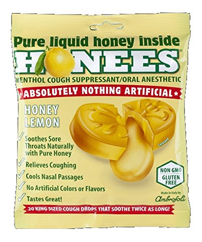 Honees Honey Lemon Cough Drops, 20 Drops Each (Pack of 3)