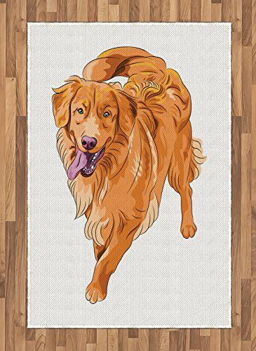 Ambesonne Golden Retriever Area Rug, Playful Dog Running with a Smiling Face Best Friend and Companion, Flat Woven Accent Rug for Living Room Bedroom Dining Room, 4' X 5.7', Orange Violet White 4' Golden Retriever Face