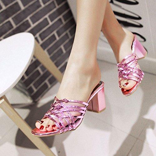 Easemax Donna Elegante Sandalo Stivaletto Tondo Su Sandalo Elegante Con Tacco Medio   8c7ec3