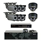 GW Security 5MP (2592x1920p) 8Ch NVR Home Security Camera System - HD 1920p 2.8~12mm Varifocal Zoom Weatherproof (6) Bullet and (2) Dome PoE IP Camera - 5 Megapixel (3,000,000 more pixels than 1080P)