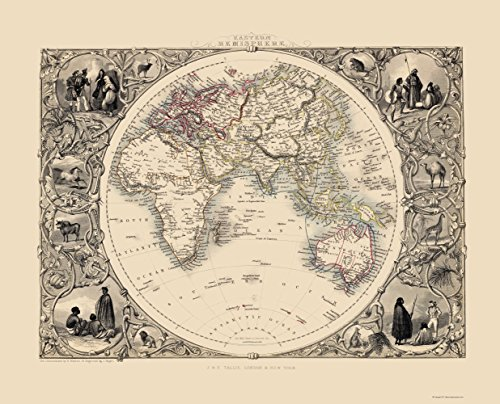 Old Eastern Hemisphere Map - Tallis 1851 - 23 x 28.45 - Matte Canvas