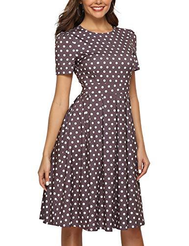Simple Flavor Women's Floral Summer Midi Dress Vintage Evening Dress Short Sleeve(0012Brown,S) ()