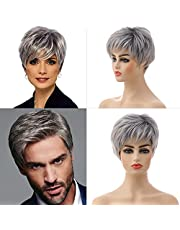 MEIRIYFA Pixie Cut Wig Silver Grey Wigs Short Straight Slight Layered Wavy Wig with Bangs Synthetic Full Wigs for Women Men Daily Costume Party