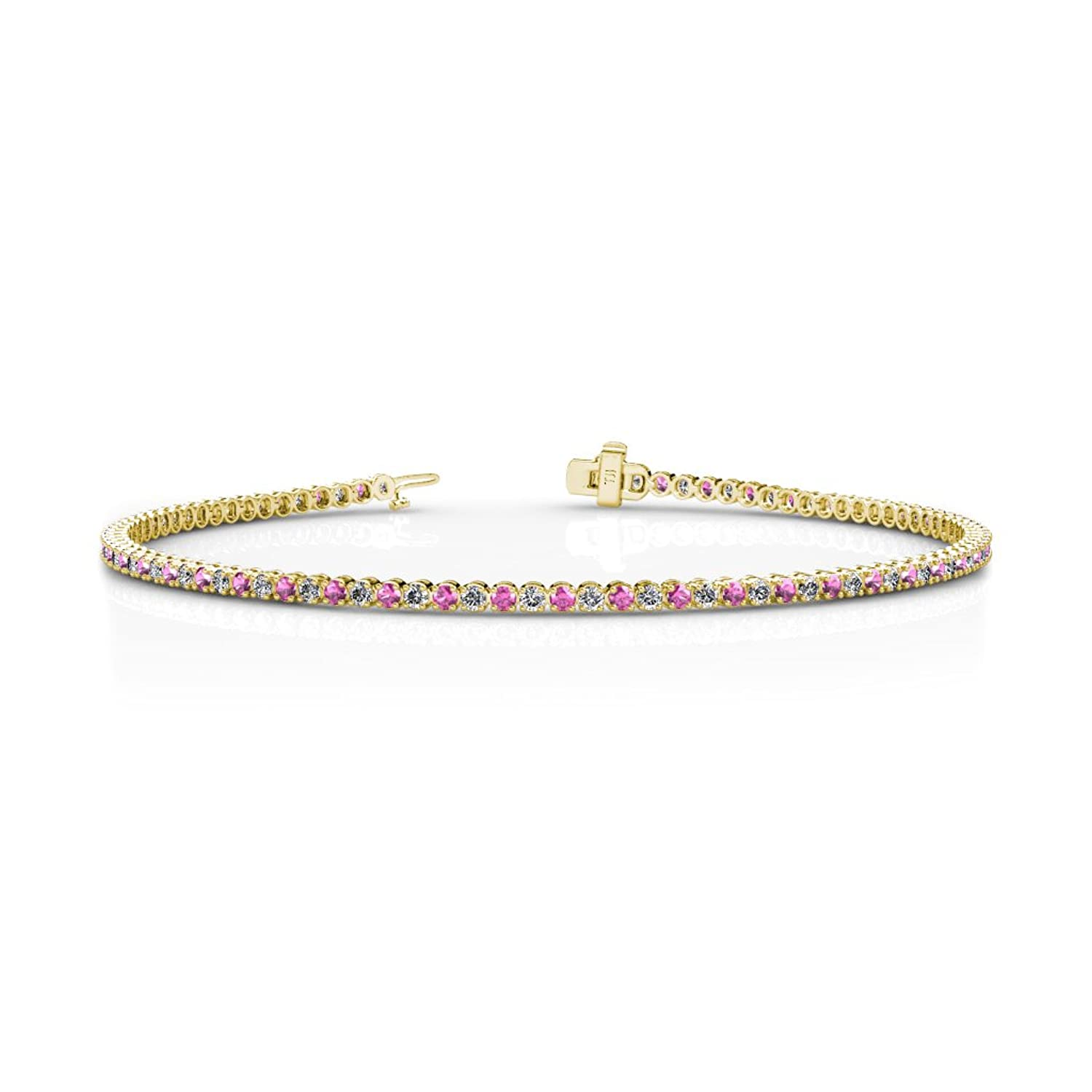 Pink Sapphire and Diamond (SI2-I1-Clarity, G-H-Color) Tennis Bracelet 1.62 ct tw in 14K Gold