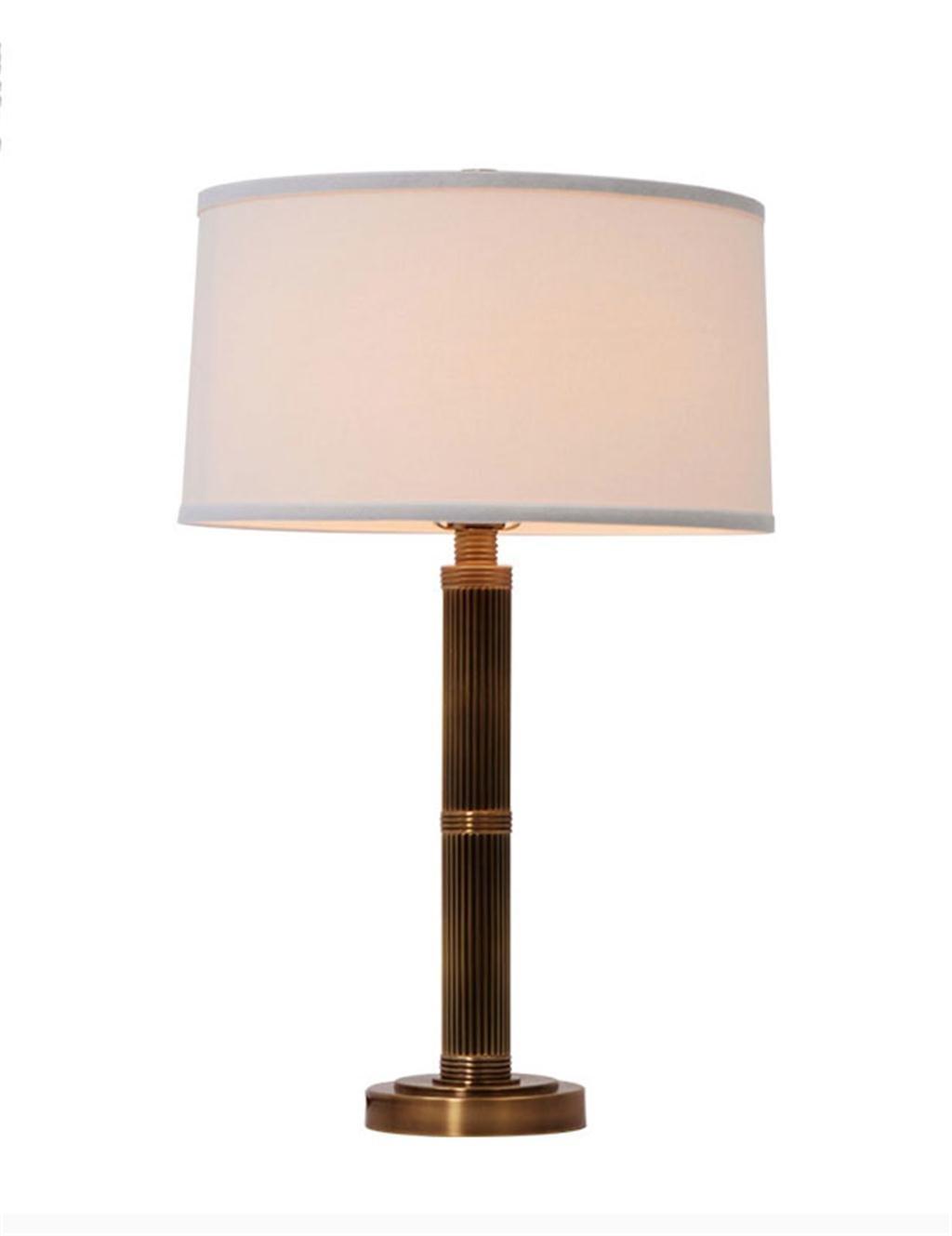 Tischleuchte Europäische Retro Kupfer Lampe Wohnzimmer Schlafzimmer Arbeitszimmer Schreibtischlampe Stoff Lampshade Nachttischlampen