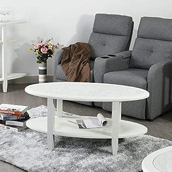 innovareds-uk Moderne ovale Double Layer Marmor Ende Tisch ...