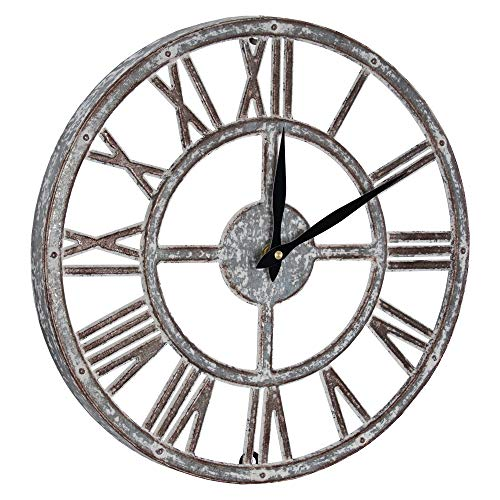 (American Art Décor Whitewashed Metal Battery Operated Hanging Farmhouse Wall Clock (15