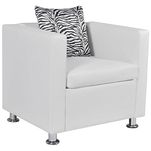 vidaXL Sillón Cuadrado Blanco de Cuero Artificial Muebles ...