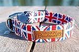 Union Jack Dog Collar Pattern Patriotic Dog Collar Adjustable London Dog Collars Red and Blue Dog Collar British Flag Dog Collar XSmall/Small/Medium/Large/XLarge