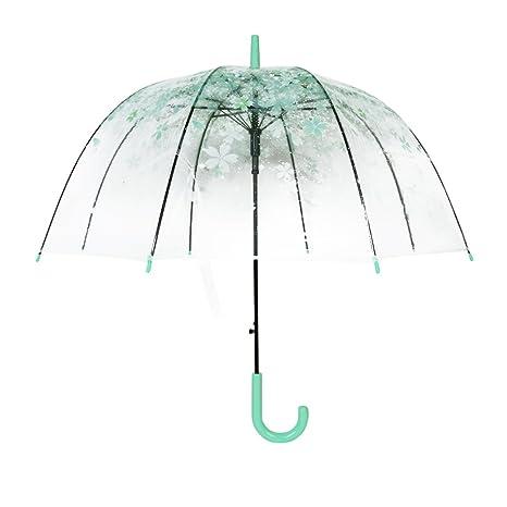 Paraguas Transparente, diseño de campana y dome, YUMOMO Paraguas para mujer (verde)