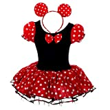 Dressy Daisy Girls' Minnie Mouse Fancy Dresses Dance Costume with Headband Size 2-3T Red & Black