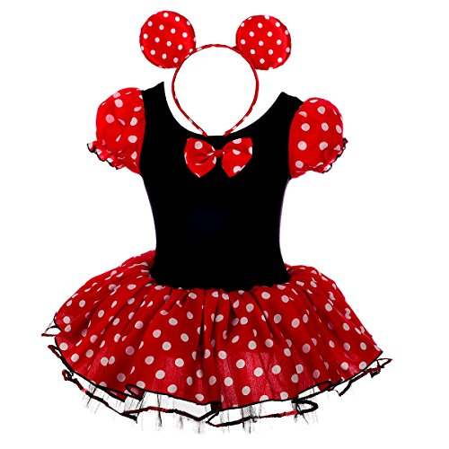 Dressy Daisy Girls' Minnie Mouse Fancy Dresses Dance Costume With Headband Size 3-4T Red & Black (Halloween Minnie Mouse Costume)