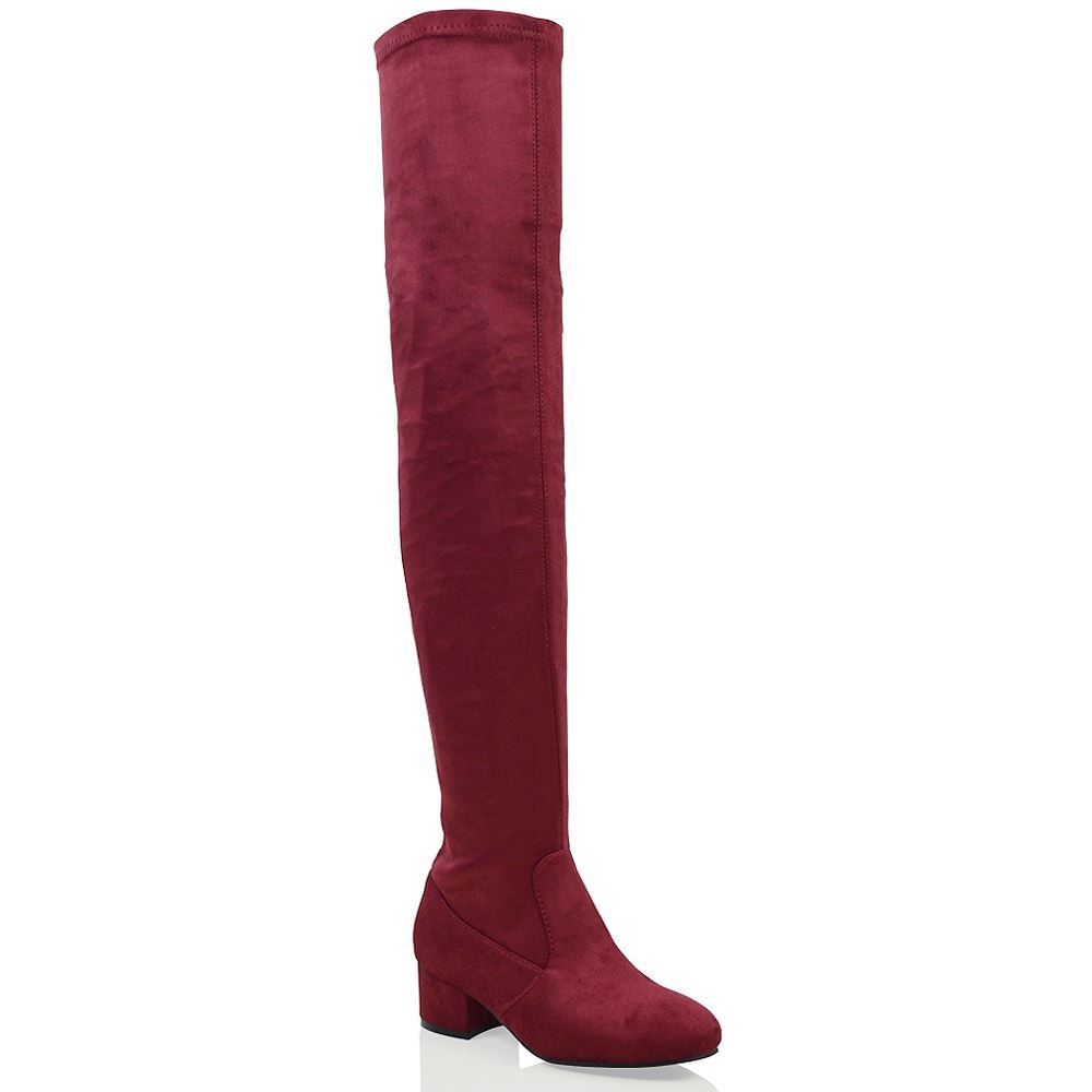 ESSEX GLAM Womens Over The Knee Chunky Low Heel Burgundy Faux Suede Stretch Thigh HIGH Boots 6 B(M) US