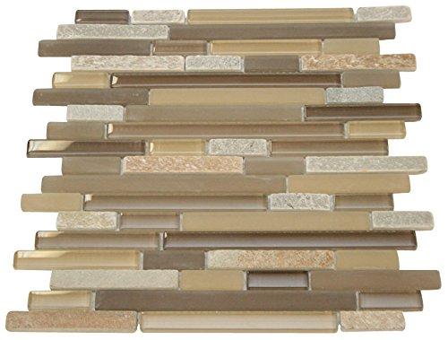 Glossy Pebble Stone Design Random Brick Pattern Mosaic Tiles for Bathroom and Kitchen Walls Kitchen Backsplashes ()