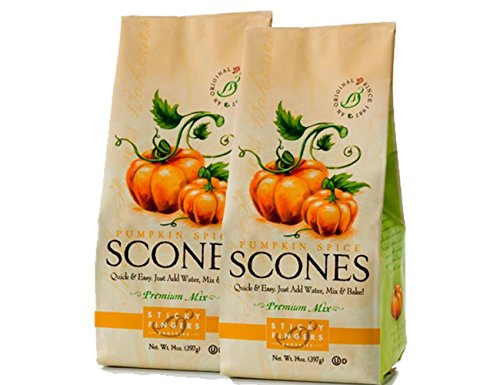 Sticky Fingers Bakery Scones - Sticky Fingers Scone Mix (Pack of 2) 15 Ounce Bags – All Natural Scone Baking Mix (Pumpkin Spice)