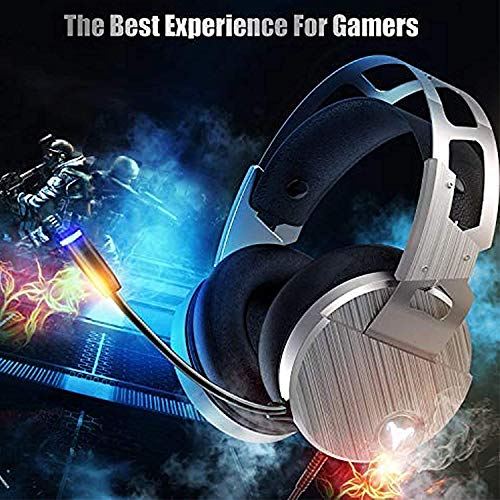 QcoQce Z15 Gaming Headset PS4 Headset with Aluminum Frame - Xbox One Headset with Noise Canceling Mic, LED Light, 3D Surround Sound Over Ear Headphones for Nintendo Switch,PC,Mac