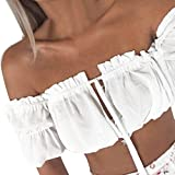 Off Shoulder Crop Top - Anxinke Women Casual Short Sleeve Drawstring Strapless Shirts Tube Top (White, M)