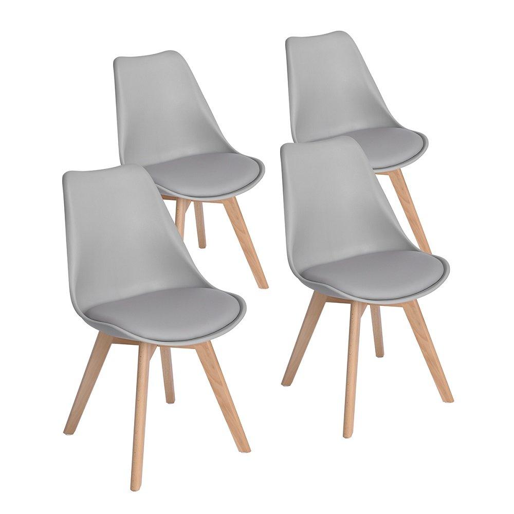Entzückend Esszimmerstühle Buche Gepolstert Dekoration Von Eggree 4er Set Grau Esszimmerstühle Mit Massivholz