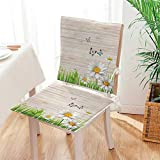 Antique Wooden Fold Up Chairs Mikihome Premium Chair Cushion Antique Old Planks American Style Western Rustic Wooden and White Daisies, Grass and Butterflies 2 Piece Set Comfort Memory cushionsd Mat:W17 x H17/Backrest:W17 x H36