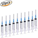 Syringe Blunt Tip Needles and Caps Disposable Syringe Single Sterile Individually Packaged Great For Refilling And Measuring E-juice, E-Liquids, E-cigs, Adhesives, Vape, Oil Or Glue Applicator (5ML, 10 Packs)