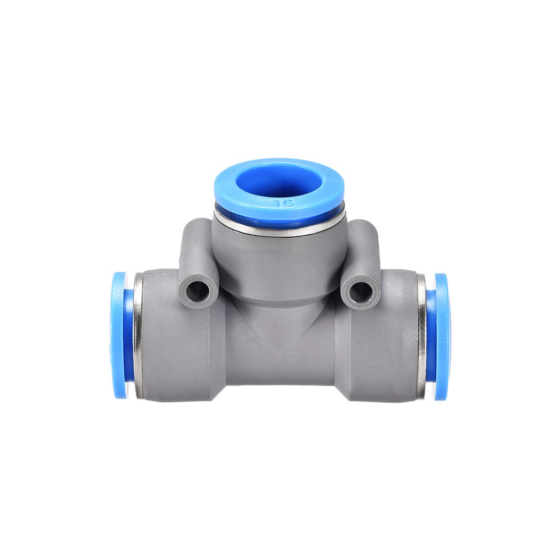 uxcell Push to Connect Air Fittings T Type Tee Tube Connect 16mm OD Grey Push Lock