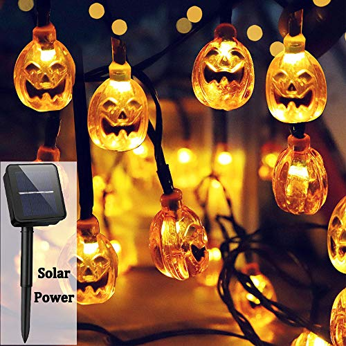 (Ausein 3D Halloween Pumpkin String Lights, 19.7ft 30 LED Solar Powered Outdoor Waterproof Pumpkin Light for Home Patio Garden Yard Decoration – Warm)