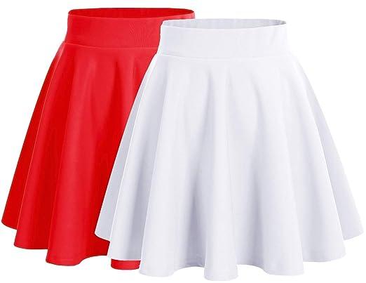 photos officielles b7925 c02ad Dresstells Jupe Mini Courte évasée en Polyester