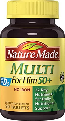 Nature Made Multi For Him 50+ Tablets w. D3 - 22 Essential Vitamins & Minerals 90 Ct