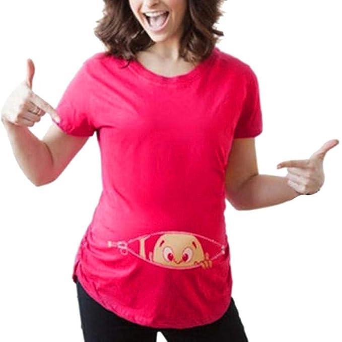 Camisetas Elegantes Moda Mujer Lactancia Tops Verano Cartoon Patrón Estampadas Plisado Cuello Redondo Basic Manga Corta Embarazadas Embarazadas Camisas ...