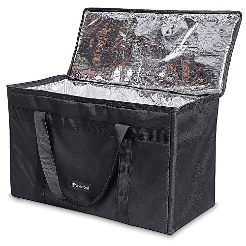 - Large Insulated Food Delivery Bag - cherrboll Commercial Grade Reusable Grocery Tote Lunch Box - Lightweight for Shopping, Restaurants, Catering, Uber Eats, Pizza Carry (23.5 x 12 x 15)