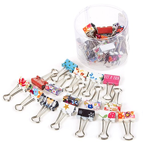 - 40-Pack Paper Clamps, Binder Clips Bulk for Office Work, Archive Work, Document Organizing, Assorted Design, Small, 1.5 x 0.75 inches ()