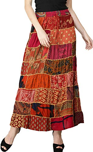 Exotic India Long Printed Dori Skirt from Gujarat with Patch Work - Color Garnet -