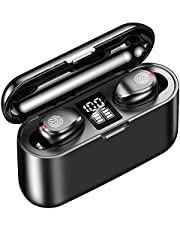 Wireless Earbuds, Bluetooth 5.0 Graphene bass Hi-Fi Headphones with 1500mAh LED Charging Case, IPX7 Waterproof TWS in-Ear Headset 60H Playtime, Binaural Stereo Sound Earphones, Noise Canceling w/Mic