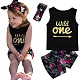 3Pcs/Set Newborn Baby Girls 'Wild One' Letter Print Tassel Vest +Floral Pants +Bowknot Headband Outfit
