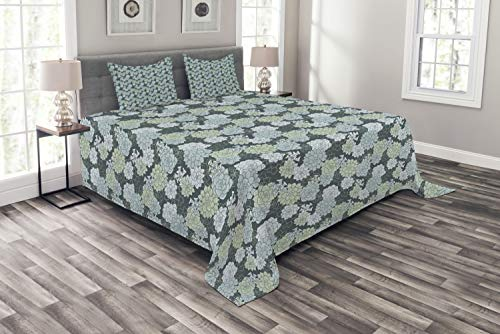 - Ambesonne Succulent Bedspread Set Queen Size, Abstract Hand Drawn Style Cactus Flowers Pattern in Green Shades, 3 Piece Decorative Quilted Coverlet with 2 Pillow Shams, Pale Green