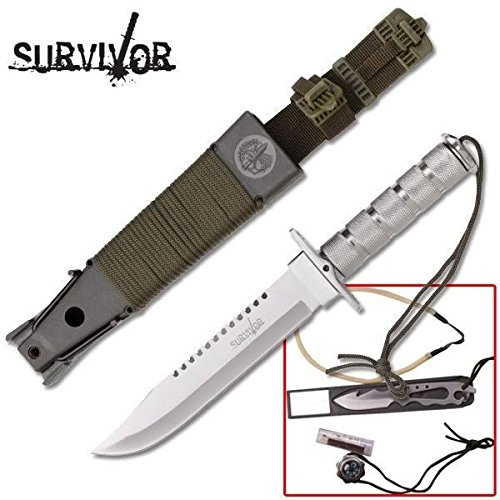 "14"" Silver Survival Knife with Carbon Sharp Blade Durable & Kit, Guthook, Slingshot"