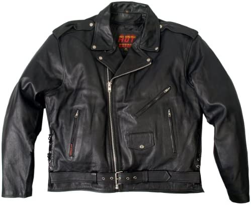 Hot Leathers Classic Motorcycle Jacket with Zip Out Lining Black, Size 70