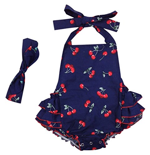 DQdq Baby Girls' Floral Print Ruffles Romper Summer Dress Blue Cherry 6 Month