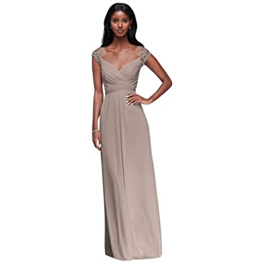 5c42a798c428 Long Mesh Bridesmaid Dress with Lace Cap Sleeves Style F19505, Biscotti, 0