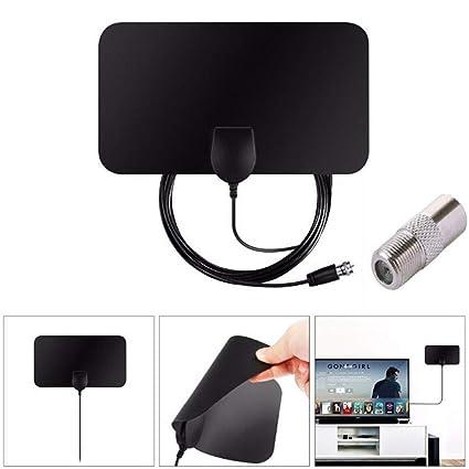 TV Antenna HDTV Flat HD Digital Indoor Amplified 80-Mile Range TVFox VHF UHF