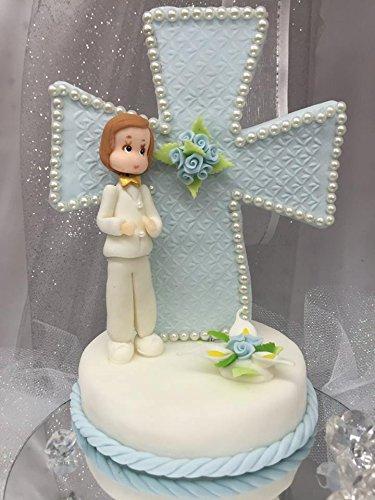 Cold Porcelain Handmade Christening Communion Boy Cake Topper Gift