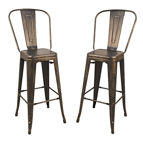 Barstool in Antique Copper Finish - Set of - Antique Stools Carolina Bar Cottage