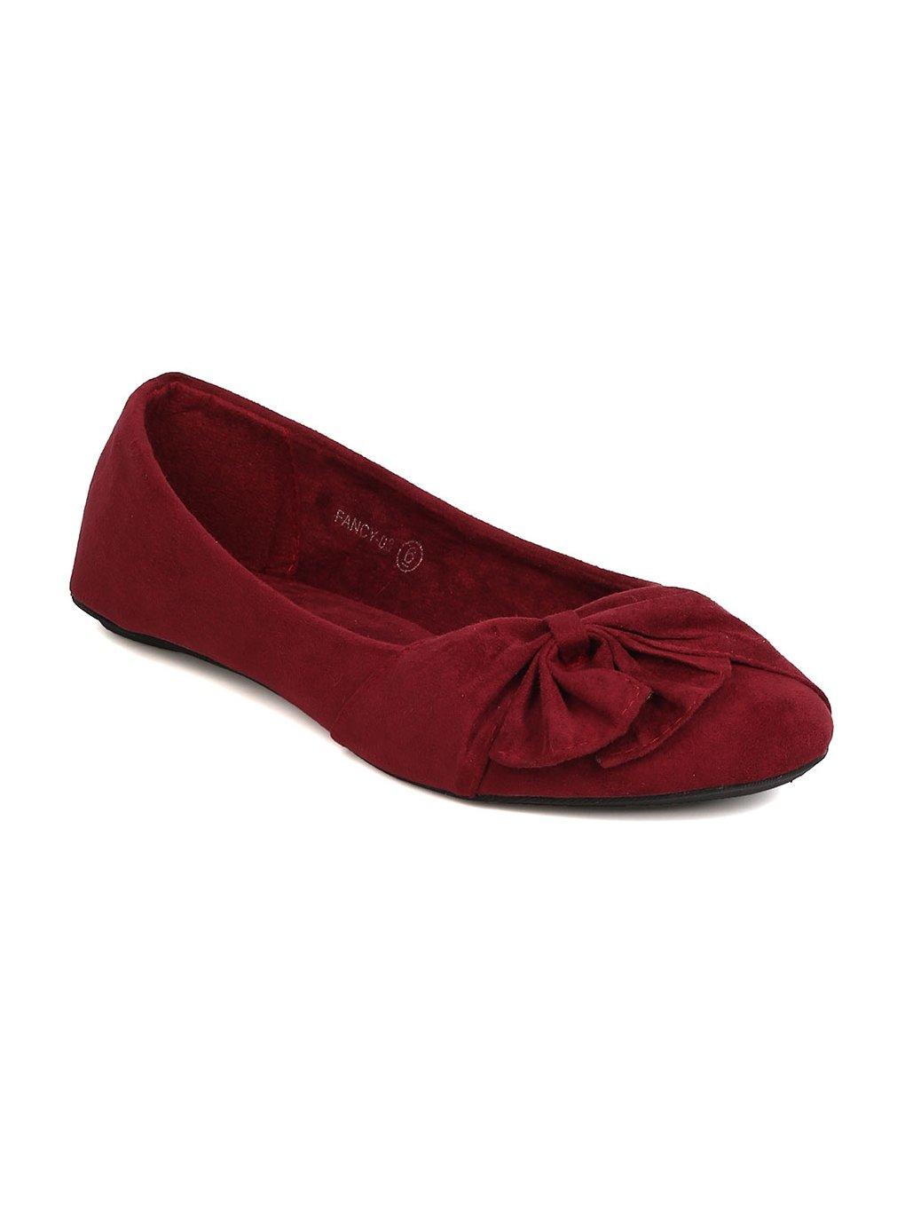 Alrisco Women Faux Suede Ruched Bow Ballet Flat GC69 - Burgundy (Size: 9.0)