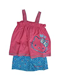 Hello Kitty Little Girls Fuchsia Blue Sparkle Applique 2 Pc Shorts Set 5